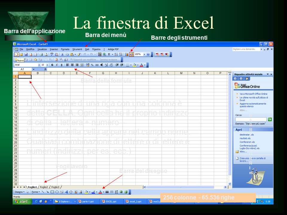 Fogli lavoro Barra del disegno Barra dellapplicazione B A R E S C O R I m. Barre degli strumenti 256 colonne - 65.536 righe Lintersezione di una riga
