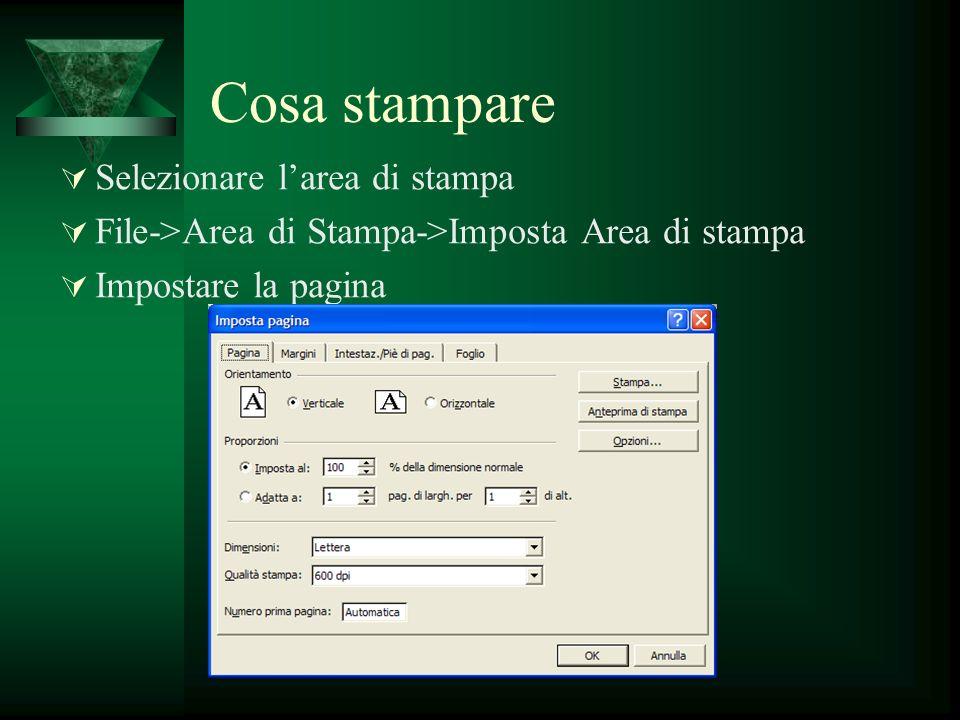 Cosa stampare Selezionare larea di stampa File->Area di Stampa->Imposta Area di stampa Impostare la pagina