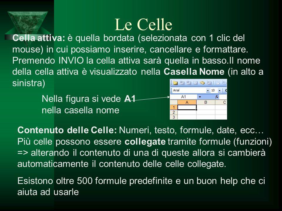 Formato celle Una singola cella può contenere: testo, numeri, formule, operatori logici, data e ora Formato Celle Cliccando su Formato/celle possiamo gestire tutto quello che riguarda il contenuto delle celle.