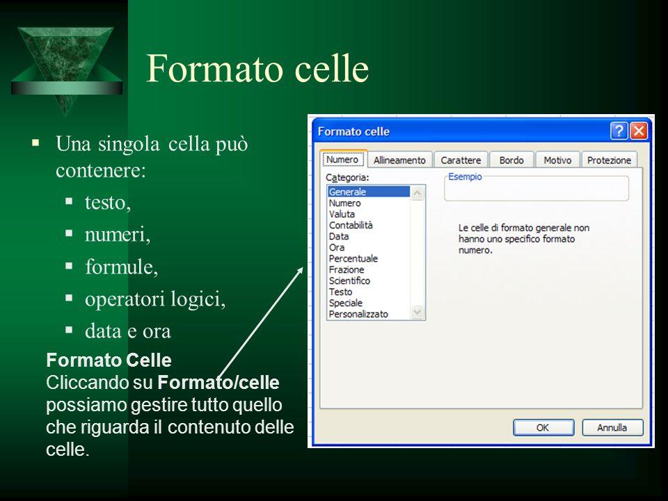 Formato celle Una singola cella può contenere: testo, numeri, formule, operatori logici, data e ora Formato Celle Cliccando su Formato/celle possiamo