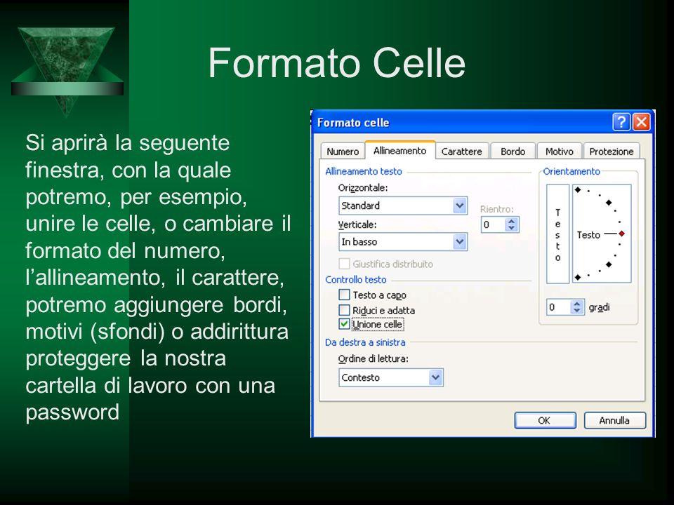 Formato Celle Si aprirà la seguente finestra, con la quale potremo, per esempio, unire le celle, o cambiare il formato del numero, lallineamento, il c