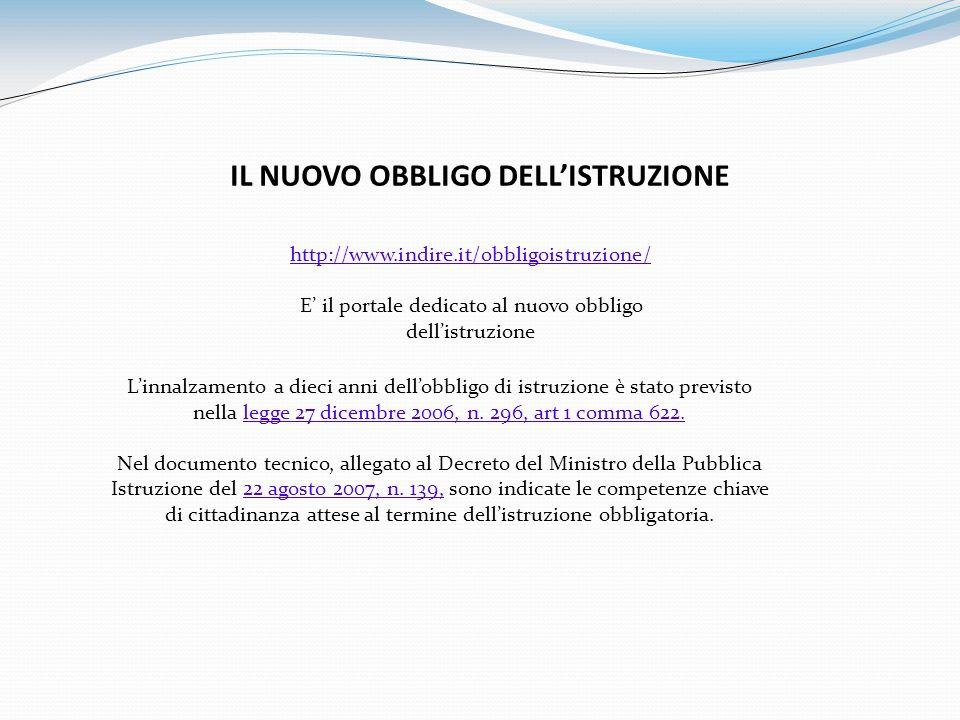 IL NUOVO OBBLIGO DELLISTRUZIONE http://www.indire.it/obbligoistruzione/ E il portale dedicato al nuovo obbligo dellistruzione Linnalzamento a dieci anni dellobbligo di istruzione è stato previsto nella legge 27 dicembre 2006, n.
