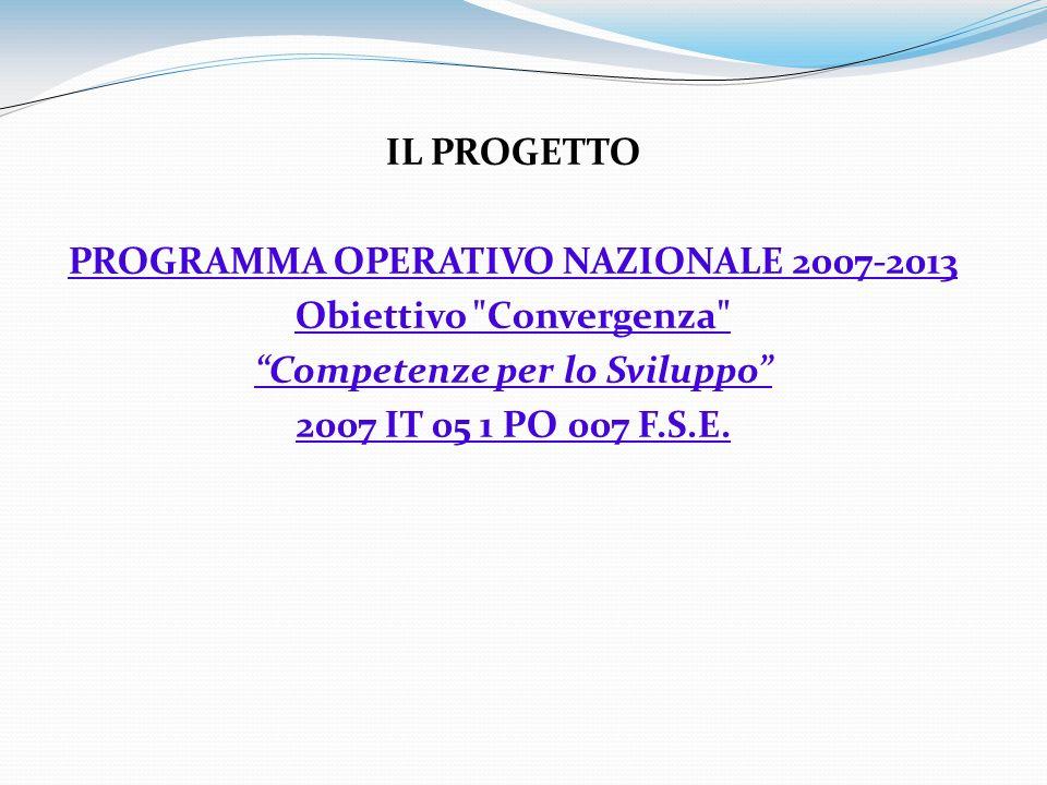 IL PROGETTO PROGRAMMA OPERATIVO NAZIONALE 2007-2013 Obiettivo Convergenza Competenze per lo Sviluppo 2007 IT 05 1 PO 007 F.S.E.