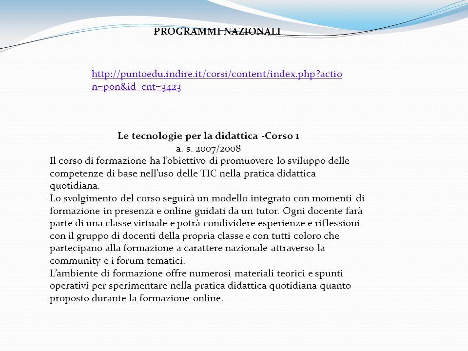 Le tecnologie per la didattica -Corso 1 a. s.