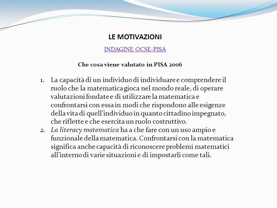 LE MOTIVAZIONI Che cosa viene valutato in PISA 2006 1.La capacità di un individuo di individuare e comprendere il ruolo che la matematica gioca nel mo