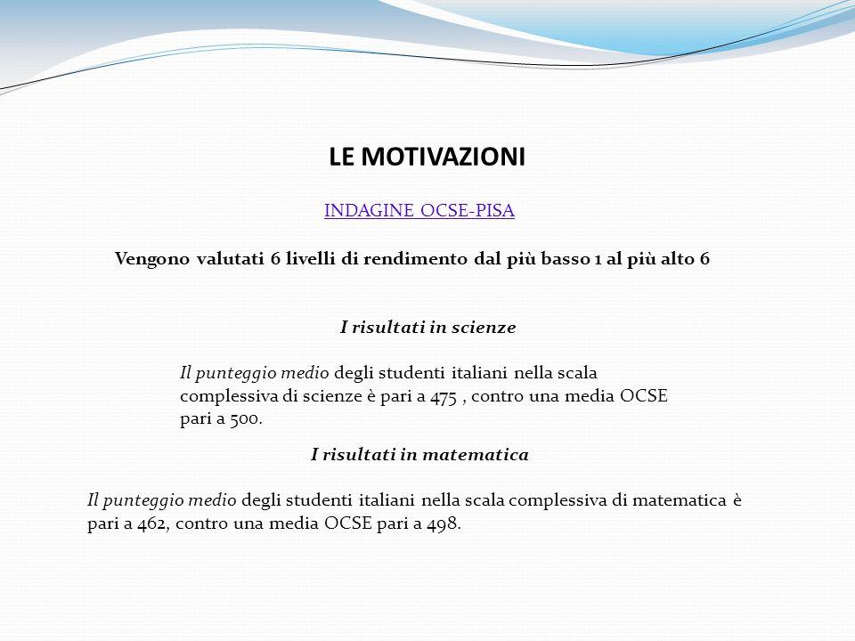 LE MOTIVAZIONI Vengono valutati 6 livelli di rendimento dal più basso 1 al più alto 6 I risultati in scienze Il punteggio medio degli studenti italiani nella scala complessiva di scienze è pari a 475, contro una media OCSE pari a 500.