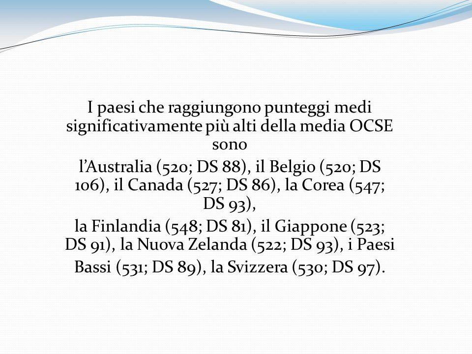 I paesi che raggiungono punteggi medi significativamente più alti della media OCSE sono lAustralia (520; DS 88), il Belgio (520; DS 106), il Canada (5