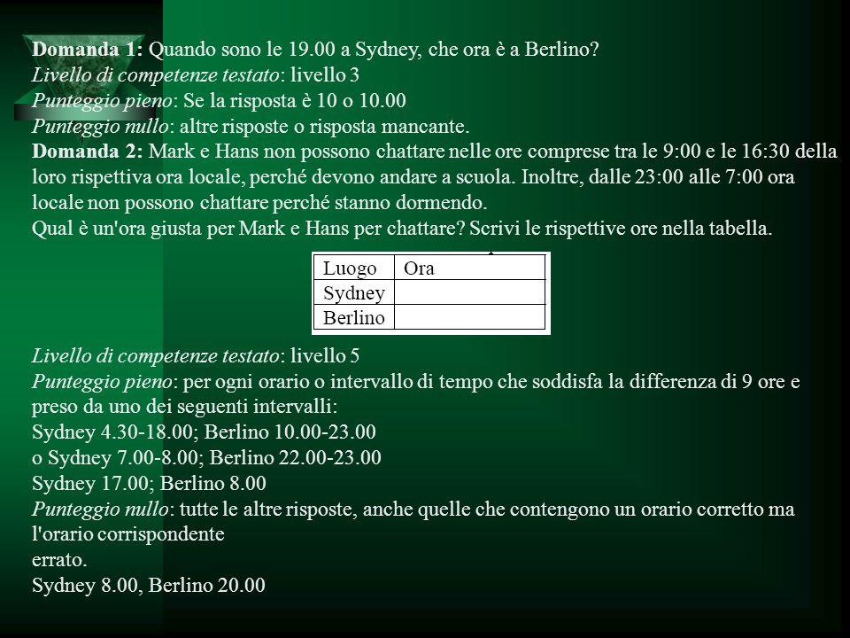 Domanda 1: Quando sono le 19.00 a Sydney, che ora è a Berlino? Livello di competenze testato: livello 3 Punteggio pieno: Se la risposta è 10 o 10.00 P
