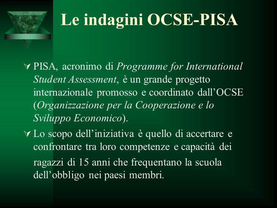 Le indagini OCSE-PISA PISA, acronimo di Programme for International Student Assessment, è un grande progetto internazionale promosso e coordinato dall