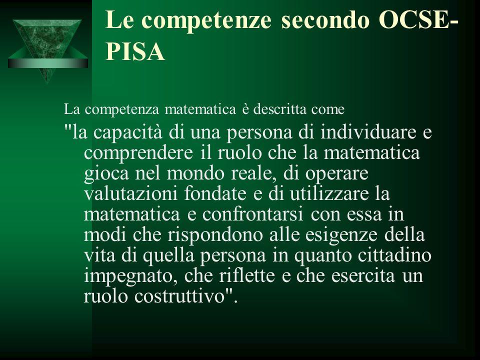 Le competenze secondo OCSE- PISA La competenza matematica è descritta come