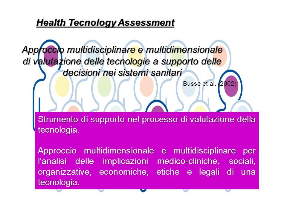 Health Tecnology Assessment Approccio multidisciplinare e multidimensionale di valutazione delle tecnologie a supporto delle decisioni nei sistemi san