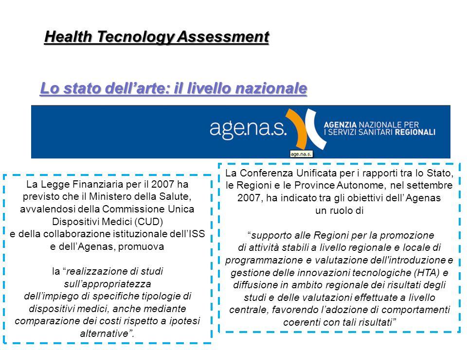 Health Tecnology Assessment Lo stato dellarte: il livello nazionale La Legge Finanziaria per il 2007 ha previsto che il Ministero della Salute, avvale