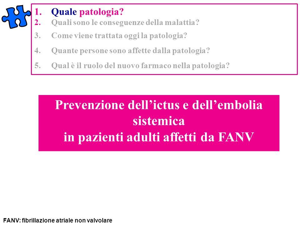 Prevenzione dellictus e dellembolia sistemica in pazienti adulti affetti da FANV 1.Quale patologia? 2.Quali sono le conseguenze della malattia? 3.Come