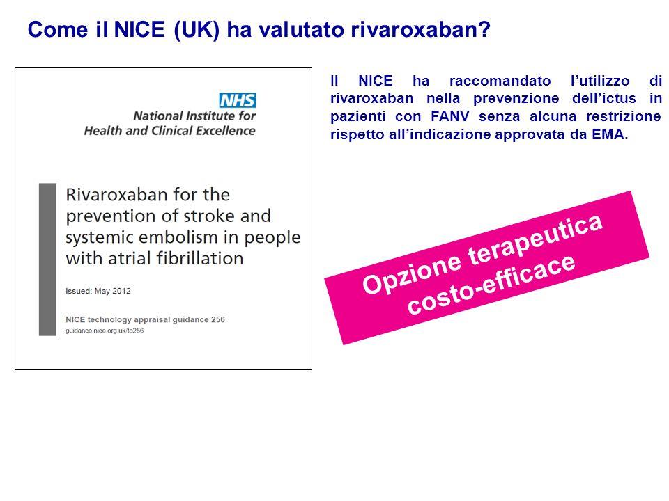 Come il NICE (UK) ha valutato rivaroxaban? Opzione terapeutica costo-efficace Il NICE ha raccomandato lutilizzo di rivaroxaban nella prevenzione delli