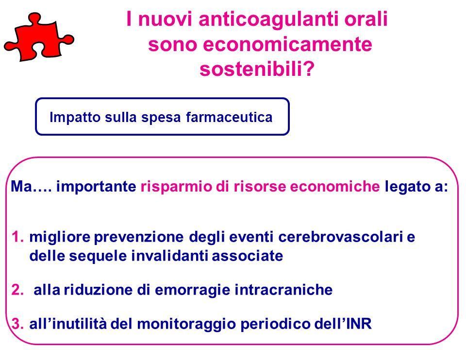I nuovi anticoagulanti orali sono economicamente sostenibili? 1.migliore prevenzione degli eventi cerebrovascolari e delle sequele invalidanti associa