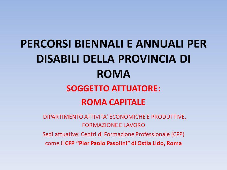 PERCORSI BIENNALI E ANNUALI PER DISABILI DELLA PROVINCIA DI ROMA SOGGETTO ATTUATORE: ROMA CAPITALE DIPARTIMENTO ATTIVITA ECONOMICHE E PRODUTTIVE, FORM