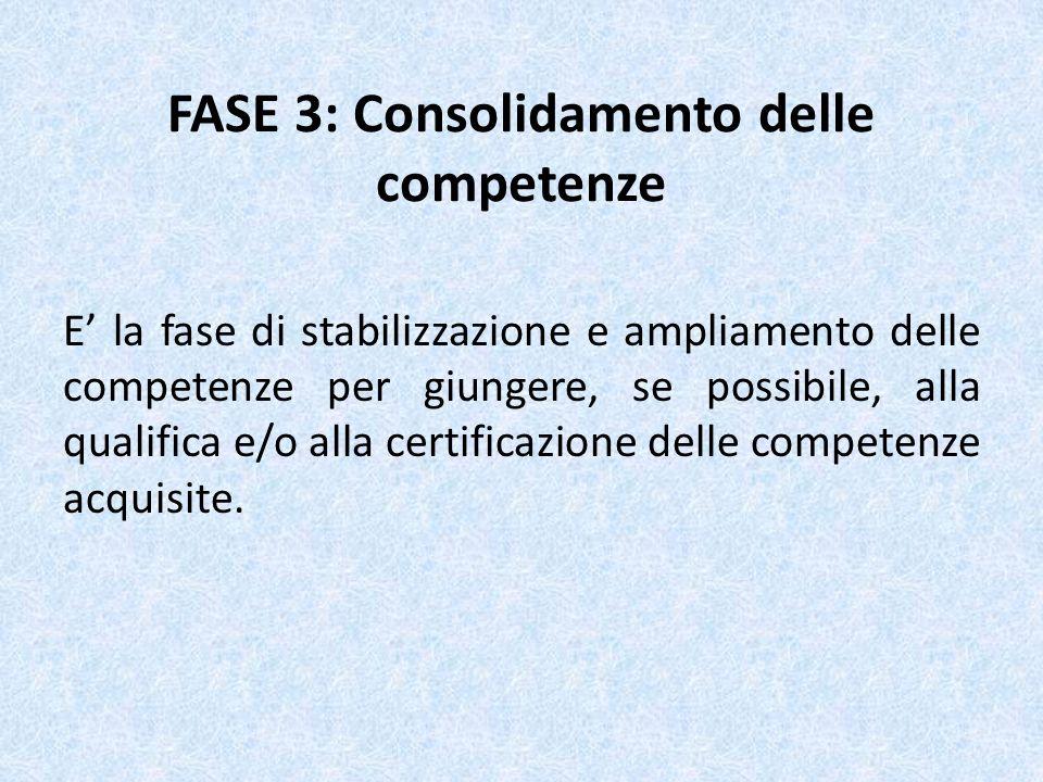 FASE 3: Consolidamento delle competenze E la fase di stabilizzazione e ampliamento delle competenze per giungere, se possibile, alla qualifica e/o all