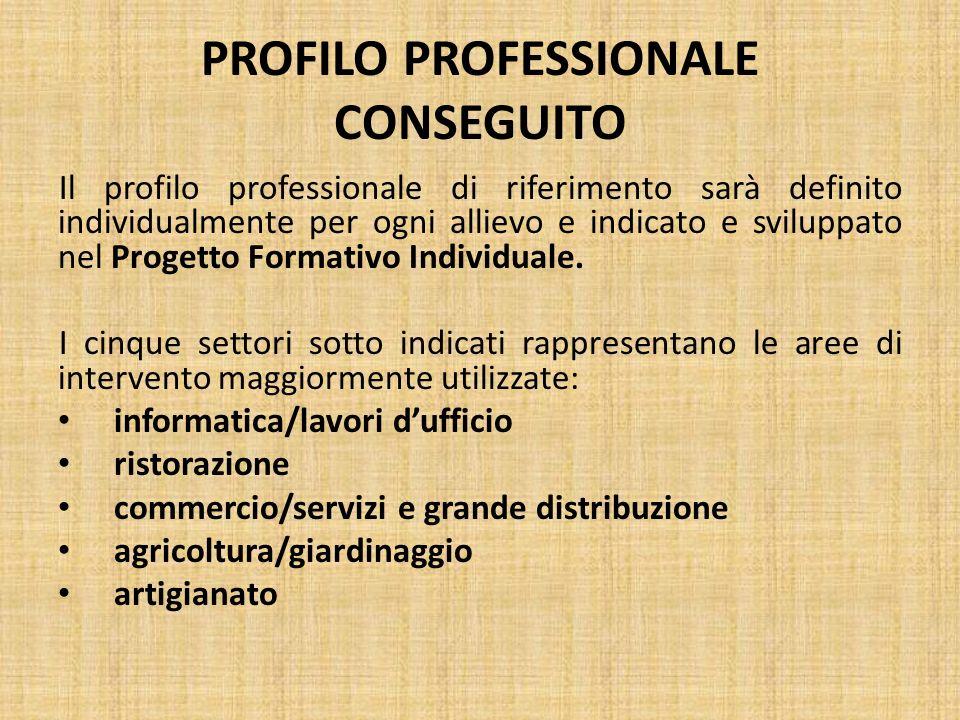 PROFILO PROFESSIONALE CONSEGUITO Il profilo professionale di riferimento sarà definito individualmente per ogni allievo e indicato e sviluppato nel Pr