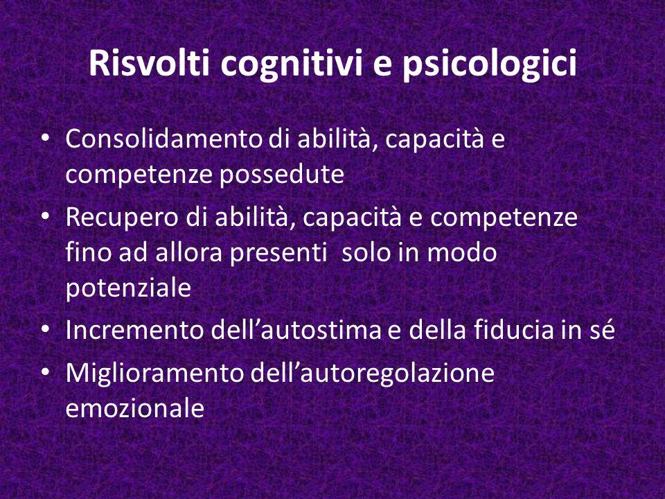 Risvolti cognitivi e psicologici Consolidamento di abilità, capacità e competenze possedute Recupero di abilità, capacità e competenze fino ad allora