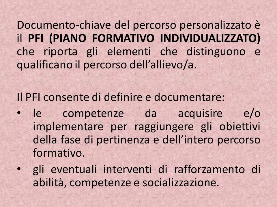 Documento-chiave del percorso personalizzato è il PFI (PIANO FORMATIVO INDIVIDUALIZZATO) che riporta gli elementi che distinguono e qualificano il per