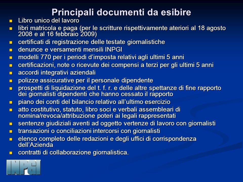 Principali documenti da esibire Libro unico del lavoro Libro unico del lavoro libri matricola e paga (per le scritture rispettivamente ateriori al 18