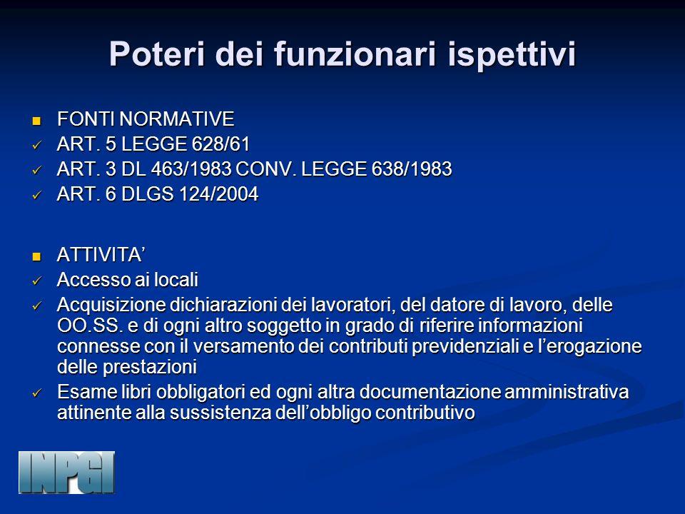 Poteri dei funzionari ispettivi FONTI NORMATIVE FONTI NORMATIVE ART. 5 LEGGE 628/61 ART. 5 LEGGE 628/61 ART. 3 DL 463/1983 CONV. LEGGE 638/1983 ART. 3