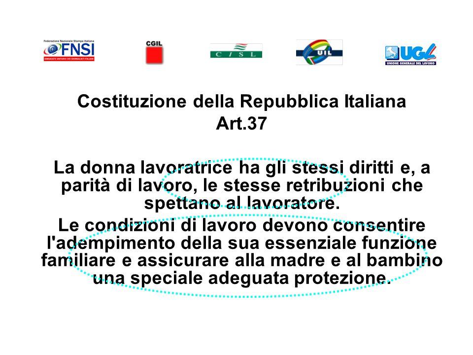 Costituzione della Repubblica Italiana Art.37 La donna lavoratrice ha gli stessi diritti e, a parità di lavoro, le stesse retribuzioni che spettano al lavoratore.