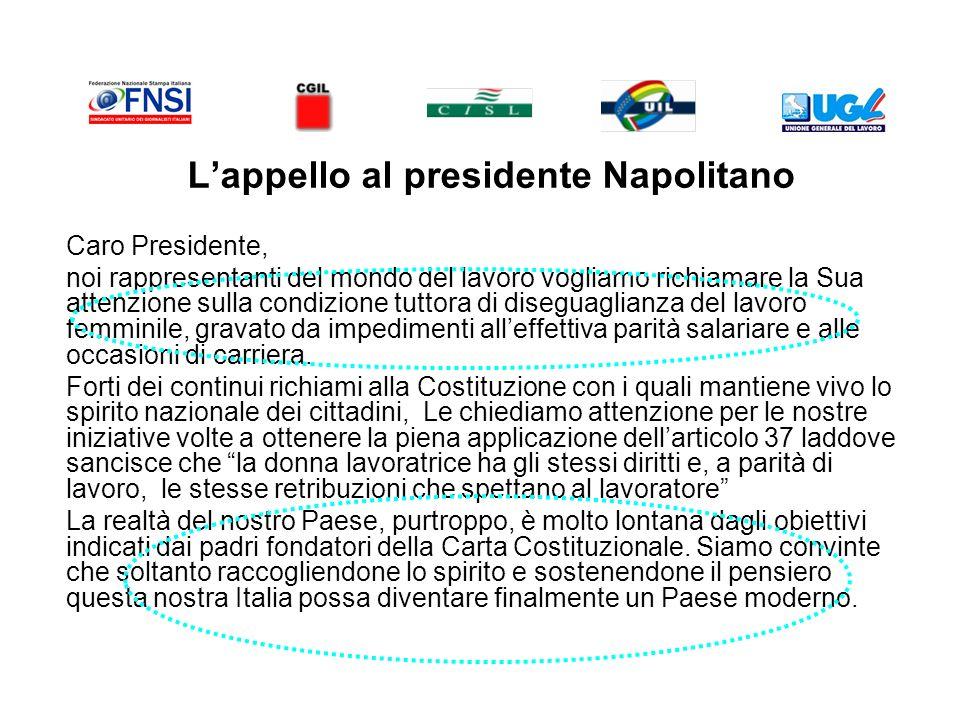 Lappello al presidente Napolitano Caro Presidente, noi rappresentanti del mondo del lavoro vogliamo richiamare la Sua attenzione sulla condizione tuttora di diseguaglianza del lavoro femminile, gravato da impedimenti alleffettiva parità salariare e alle occasioni di carriera.
