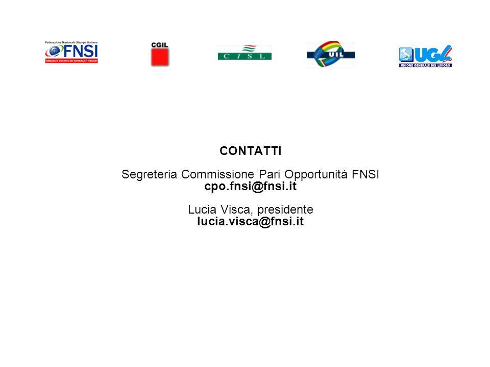 CONTATTI Segreteria Commissione Pari Opportunità FNSI cpo.fnsi@fnsi.it Lucia Visca, presidente lucia.visca@fnsi.it