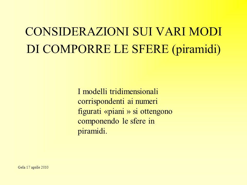CONSIDERAZIONI SUI VARI MODI DI COMPORRE LE SFERE (piramidi) I modelli tridimensionali corrispondenti ai numeri figurati «piani » si ottengono compone
