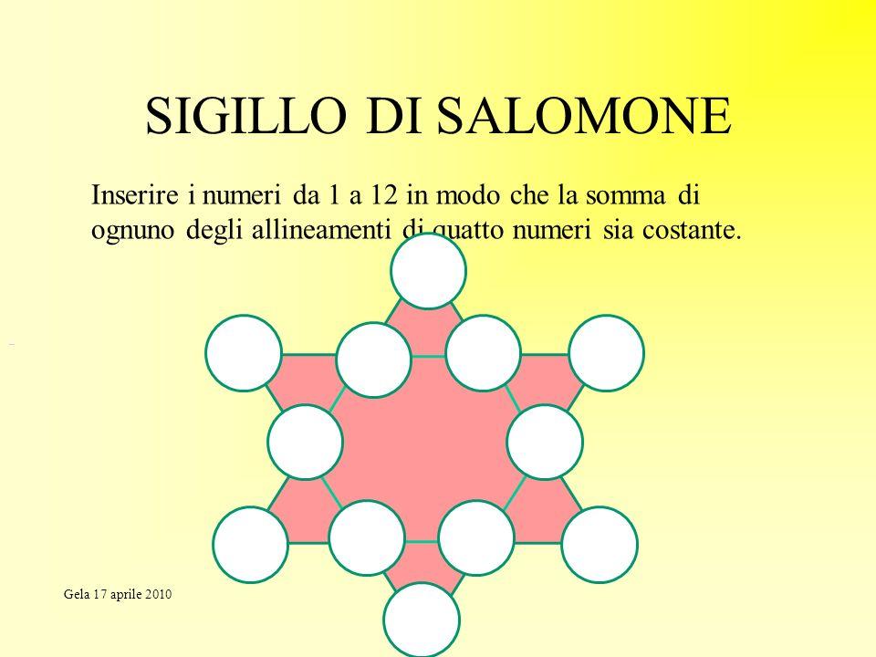 SIGILLO DI SALOMONE Inserire i numeri da 1 a 12 in modo che la somma di ognuno degli allineamenti di quatto numeri sia costante. Gela 17 aprile 2010