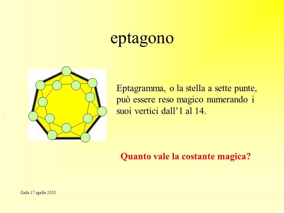 eptagono Eptagramma, o la stella a sette punte, può essere reso magico numerando i suoi vertici dall1 al 14. Quanto vale la costante magica? Gela 17 a