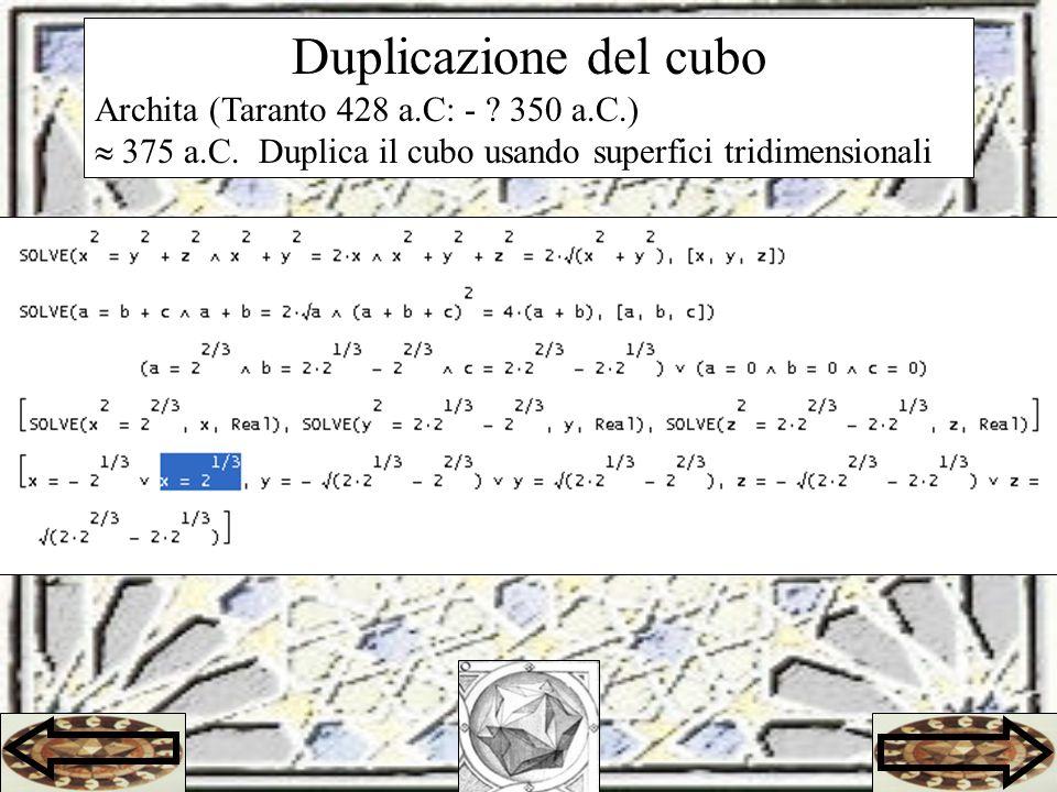 Duplicazione del cubo Archita (Taranto 428 a.C: - .