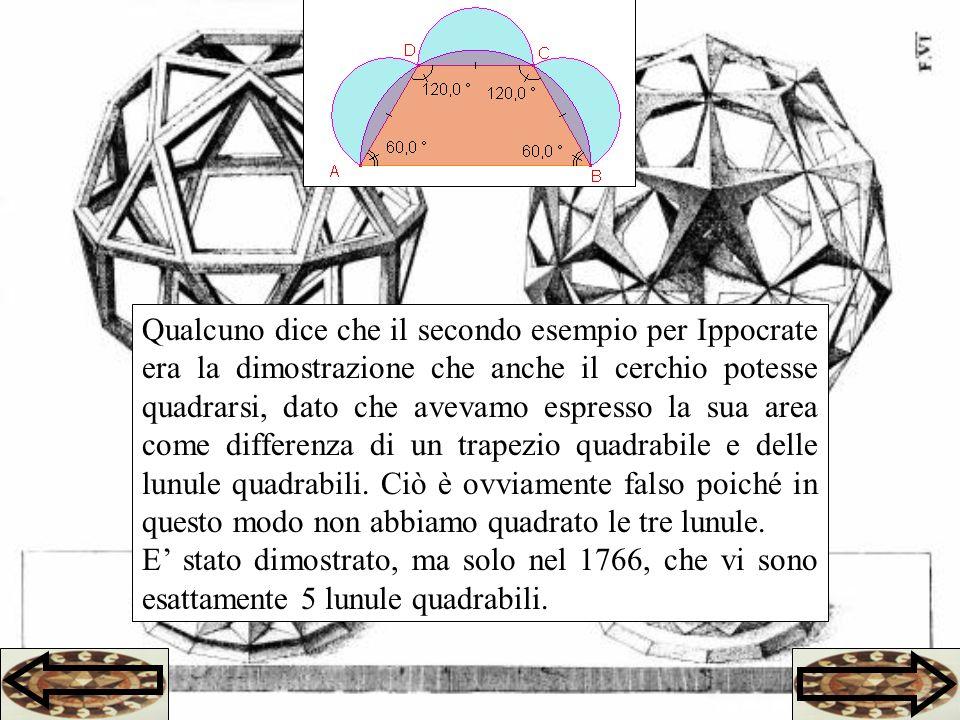 Qualcuno dice che il secondo esempio per Ippocrate era la dimostrazione che anche il cerchio potesse quadrarsi, dato che avevamo espresso la sua area come differenza di un trapezio quadrabile e delle lunule quadrabili.