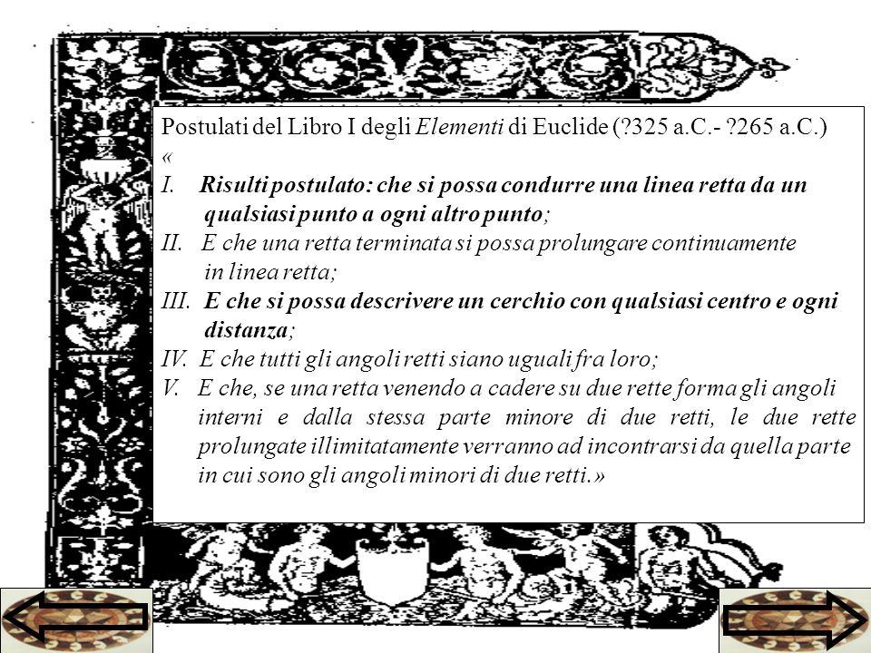 Postulati del Libro I degli Elementi di Euclide (?325 a.C.- ?265 a.C.) « I.