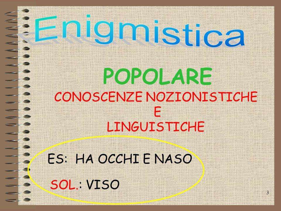 3 POPOLARE CONOSCENZE NOZIONISTICHE E LINGUISTICHE ES: HA OCCHI E NASO SOL.: VISO