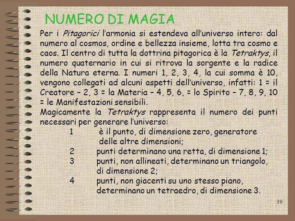 38 Il numero 10 è per Pitagora il più bello, esso contiene un ugual numero di dispari e di pari: 1, 3, 5, 7, 9 come dispari e 2, 4, 6, 8, 10 come pari