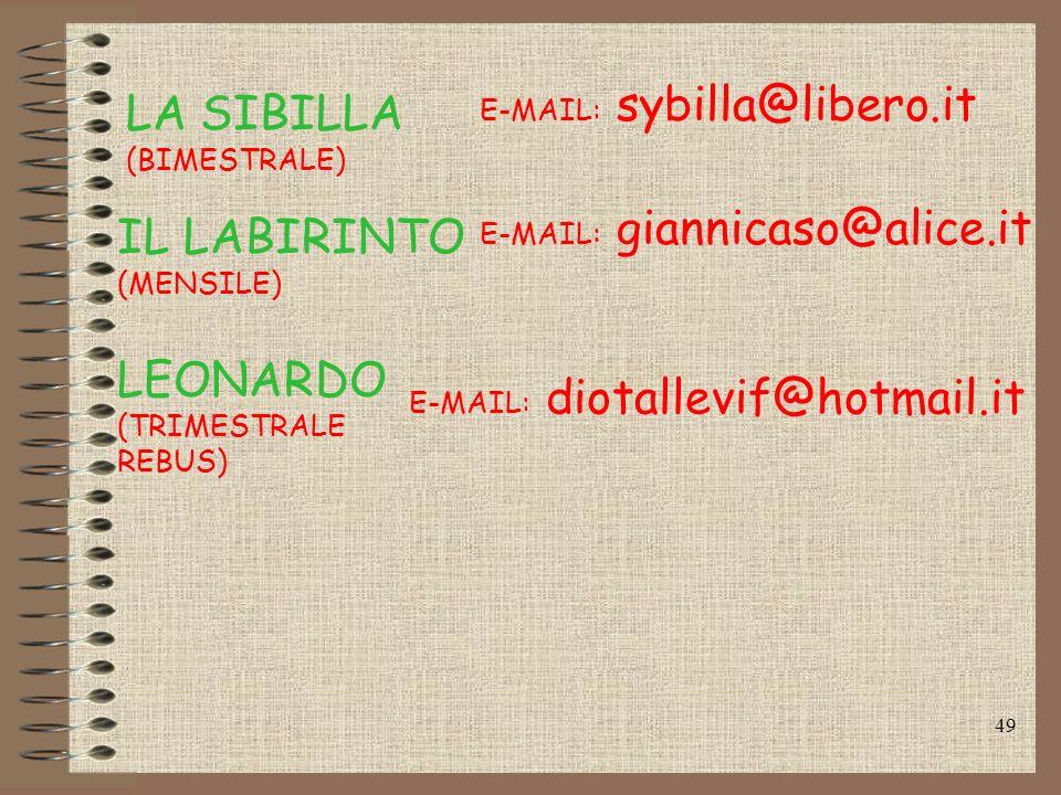 48 B.E.I. (MO) www.cantodellasfinge.it www.enignet.it A.R.I. (RM) IL CANTO DELLA SFINGE (SOLO ON LINE) E-MAIL: penombra.roma@tiscali.it PENOMBRA (MENS