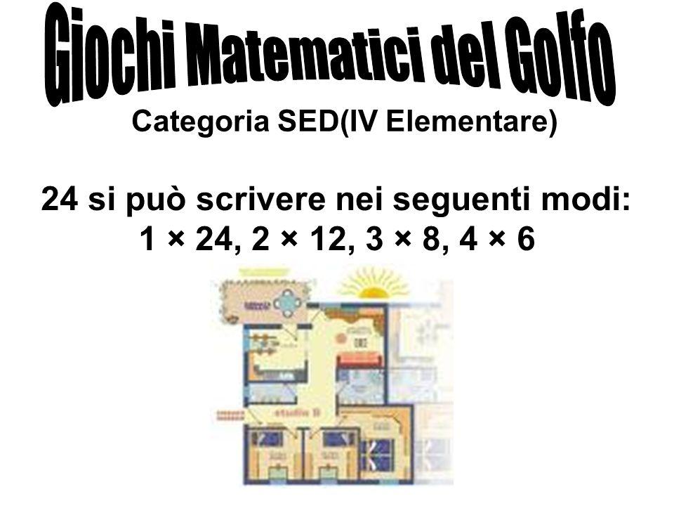 Categoria SED(IV Elementare) 24 si può scrivere nei seguenti modi: 1 × 24, 2 × 12, 3 × 8, 4 × 6