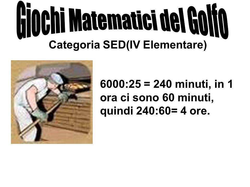 Categoria SED(IV Elementare) 6000:25 = 240 minuti, in 1 ora ci sono 60 minuti, quindi 240:60= 4 ore.