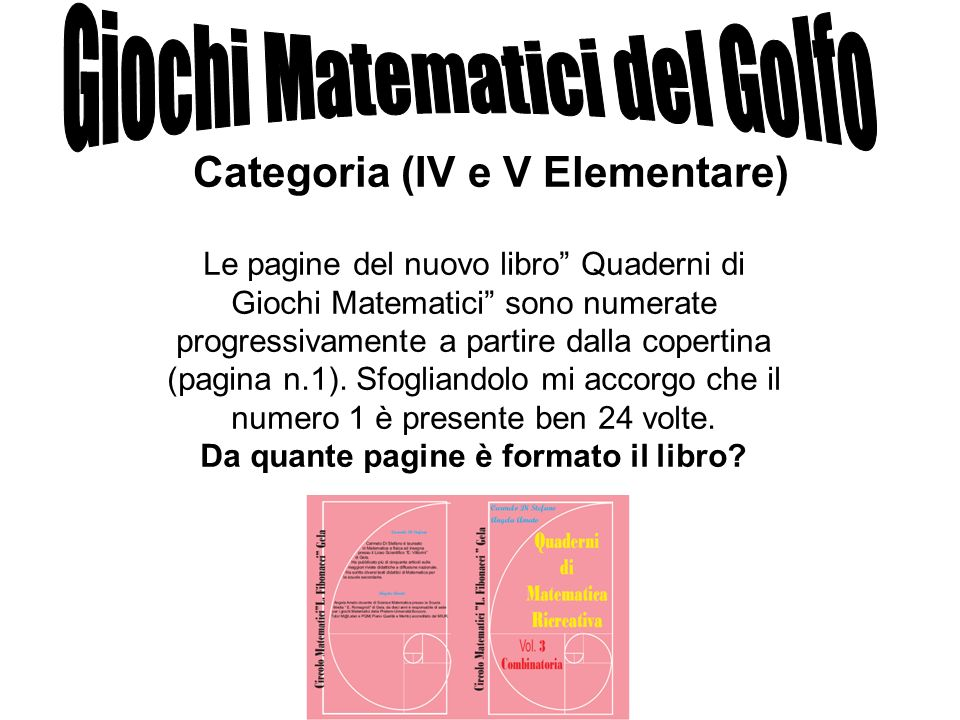 Le pagine del nuovo libro Quaderni di Giochi Matematici sono numerate progressivamente a partire dalla copertina (pagina n.1). Sfogliandolo mi accorgo