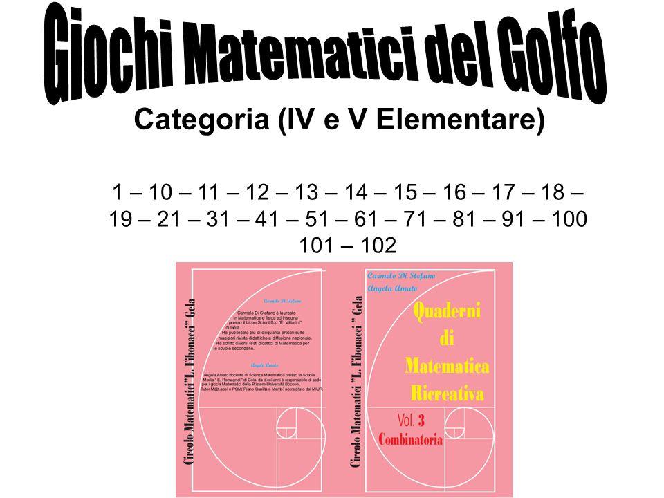 Categoria (IV e V Elementare) 1 – 10 – 11 – 12 – 13 – 14 – 15 – 16 – 17 – 18 – 19 – 21 – 31 – 41 – 51 – 61 – 71 – 81 – 91 – 100 101 – 102