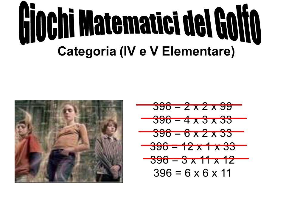 Categoria (IV e V Elementare) 396 = 2 x 2 x 99 396 = 4 x 3 x 33 396 = 6 x 2 x 33 396 = 12 x 1 x 33 396 = 3 x 11 x 12 396 = 6 x 6 x 11