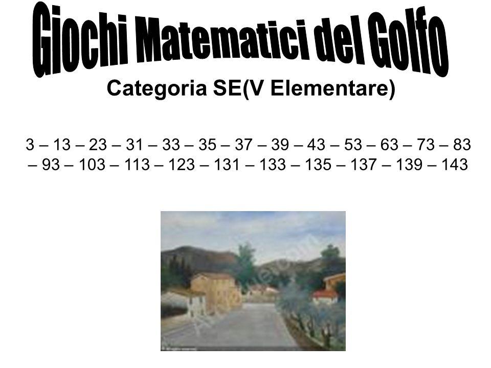 Categoria SE(V Elementare) 3 – 13 – 23 – 31 – 33 – 35 – 37 – 39 – 43 – 53 – 63 – 73 – 83 – 93 – 103 – 113 – 123 – 131 – 133 – 135 – 137 – 139 – 143