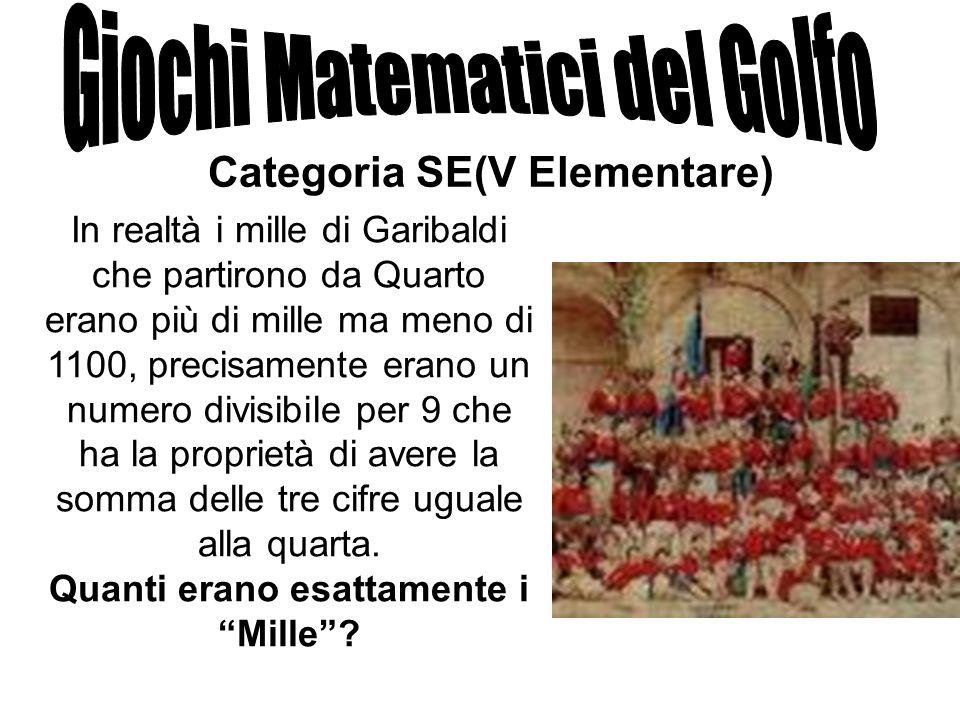 Categoria SE(V Elementare) In realtà i mille di Garibaldi che partirono da Quarto erano più di mille ma meno di 1100, precisamente erano un numero div