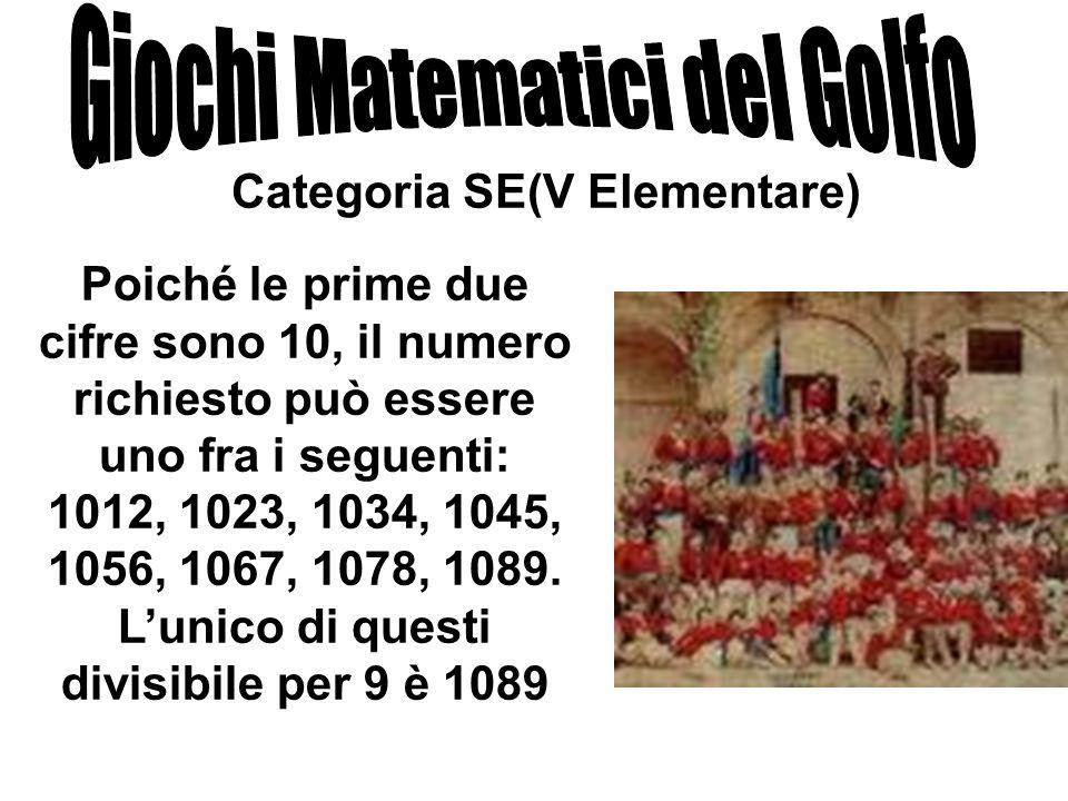 Categoria SE(V Elementare) Poiché le prime due cifre sono 10, il numero richiesto può essere uno fra i seguenti: 1012, 1023, 1034, 1045, 1056, 1067, 1
