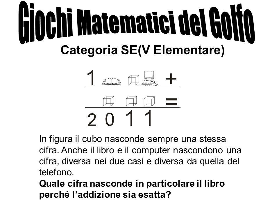 Categoria SE(V Elementare) In figura il cubo nasconde sempre una stessa cifra. Anche il libro e il computer nascondono una cifra, diversa nei due casi