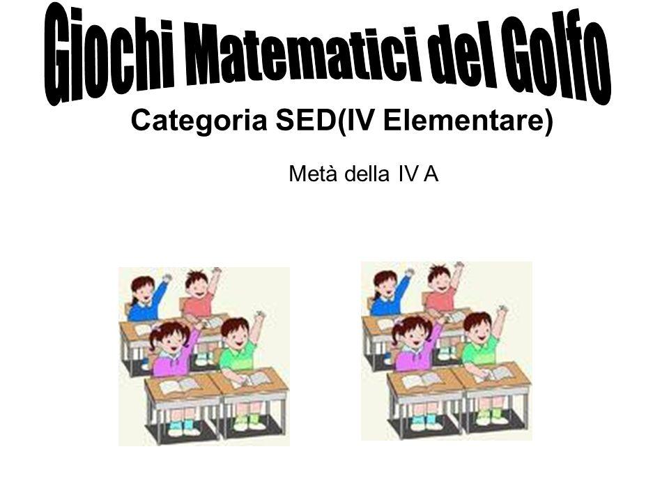 Categoria SED(IV Elementare) Metà della IV A