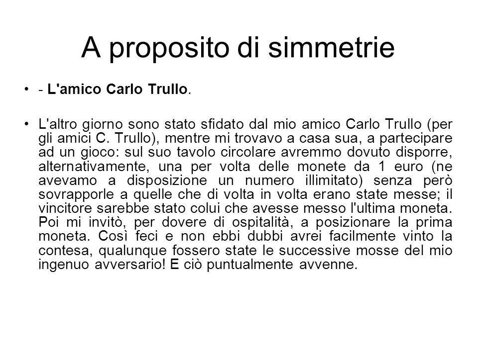 A proposito di simmetrie - L amico Carlo Trullo.