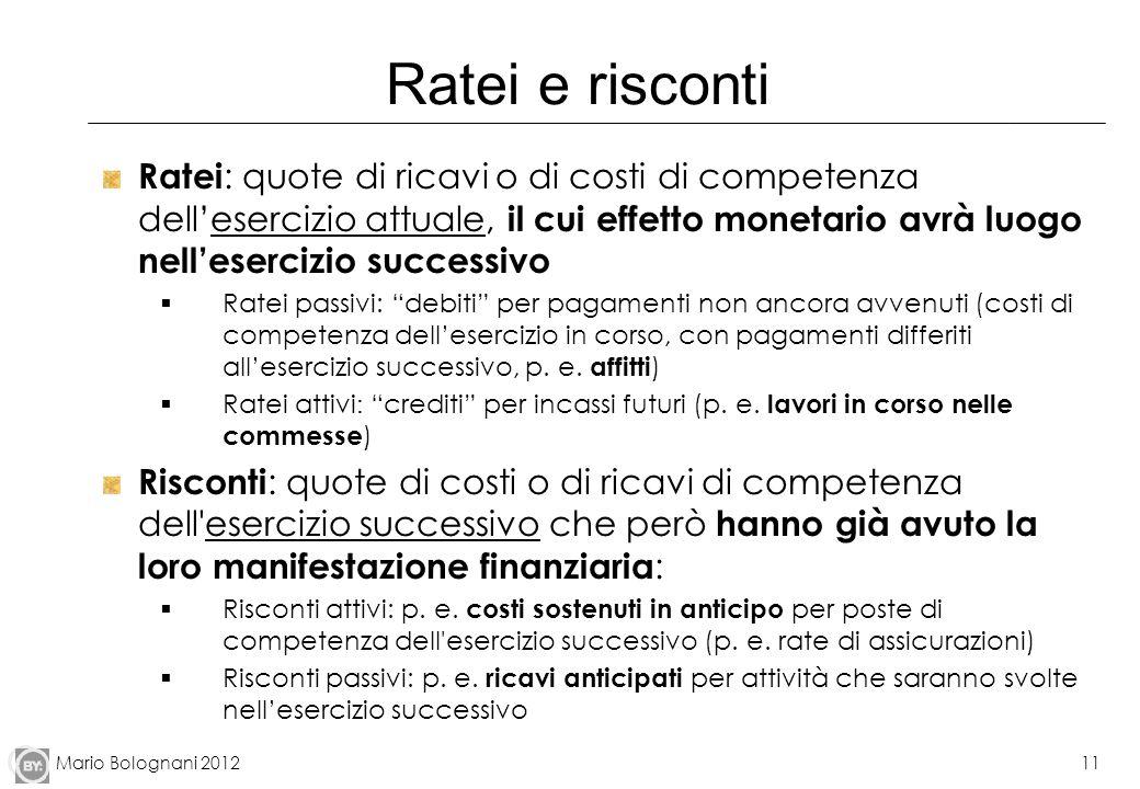 Mario Bolognani 201211 Ratei e risconti Ratei : quote di ricavi o di costi di competenza dellesercizio attuale, il cui effetto monetario avrà luogo ne